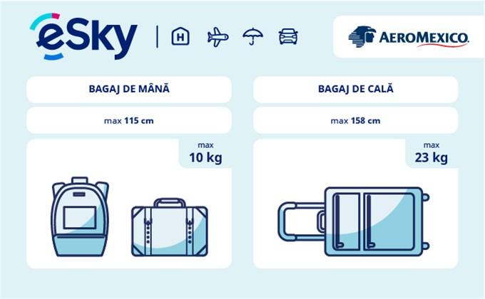 Dimensiunea și greutatea bagajelor  - Aeromexico