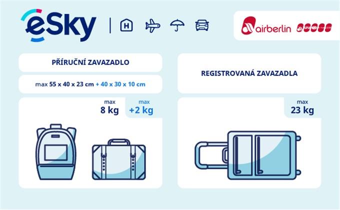 Zavazadla: omezení týkající se váhy a rozměrů - Air Berlin