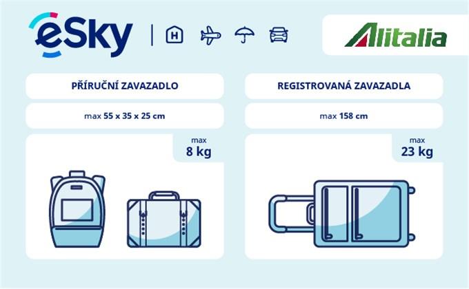 Zavazadla: omezení týkající se váhy a rozměrů - Alitalia
