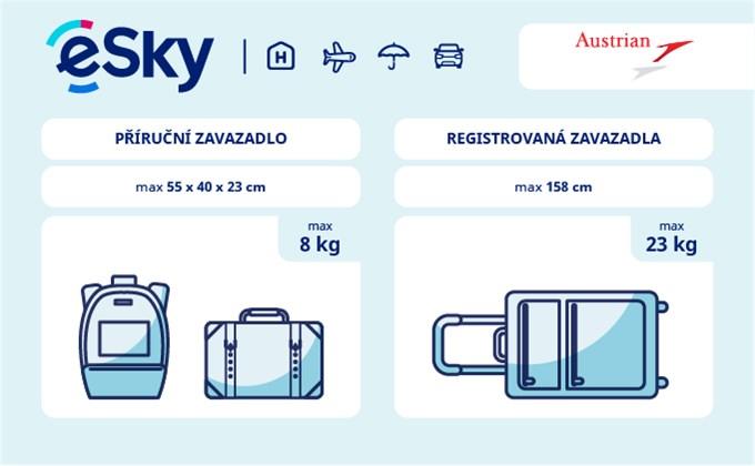 Zavazadla: omezení týkající se váhy a rozměrů - Austrian Arlines