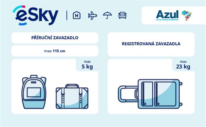 Zavazadla: omezení týkající se váhy a rozměrů - AZUL