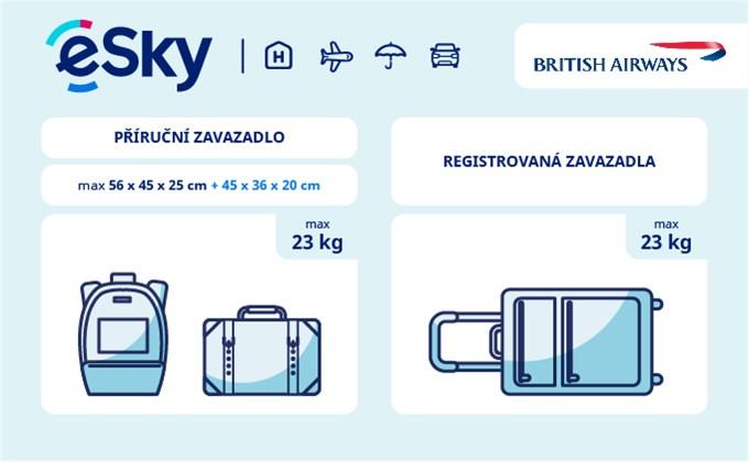 Zavazadla: omezení týkající se váhy a rozměrů - British Airways