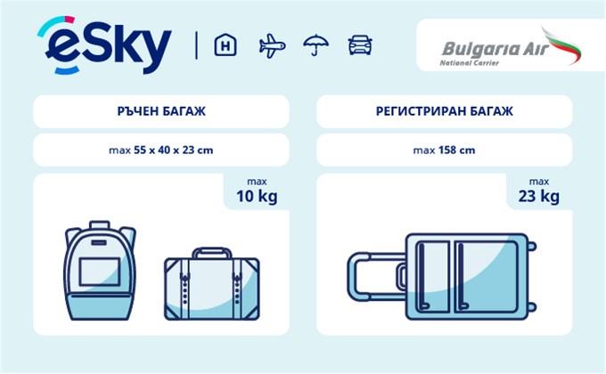 Тегло и размери на багажа - Bulgaria Air
