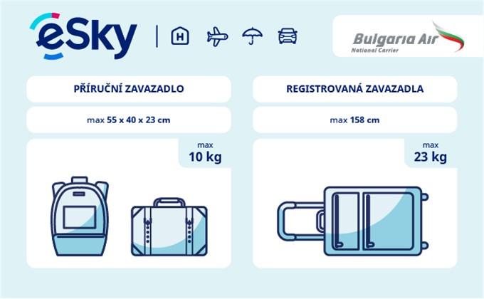 Zavazadla: omezení týkající se váhy a rozměrů - Bulgaria Air
