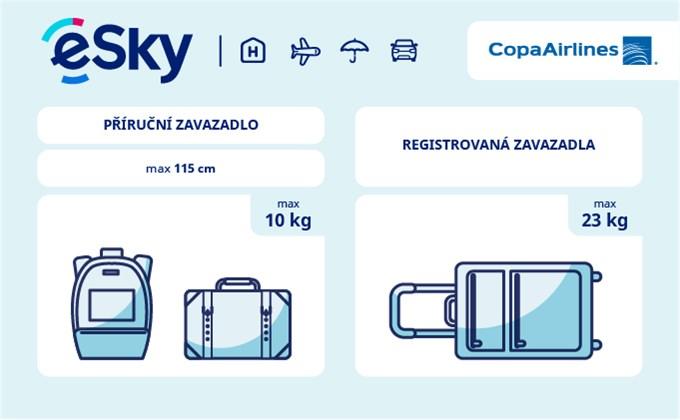 Zavazadla: omezení týkající se váhy a rozměrů - Copa Airlines