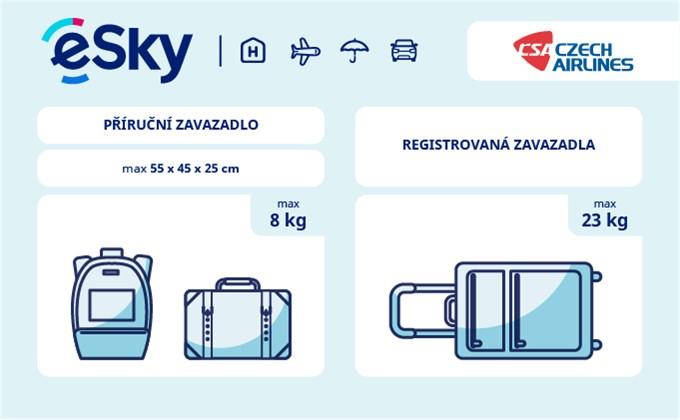 Zavazadla: omezení týkající se váhy a rozměrů - ČSA Czech Airlines