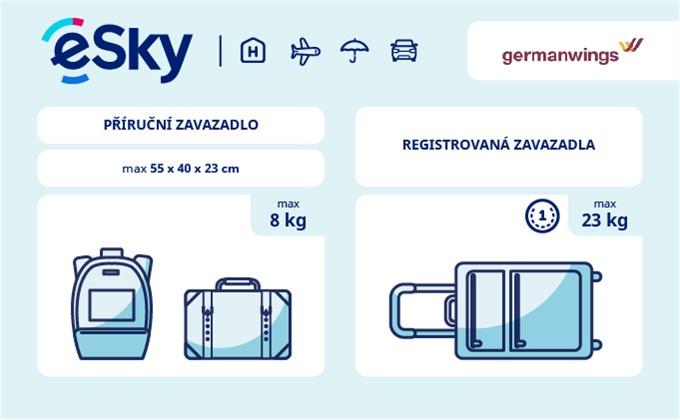 Zavazadla: omezení týkající se váhy a rozměrů - Germanwings
