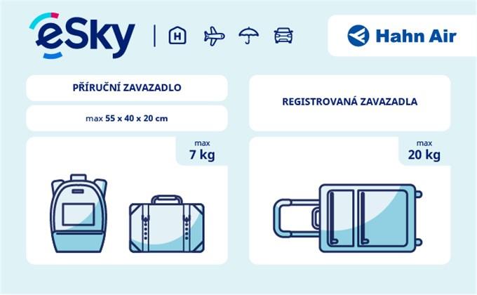 Zavazadla: omezení týkající se váhy a rozměrů - Hahn Air