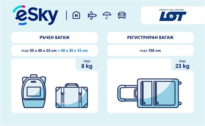 Тегло и размери на багажа - LOT