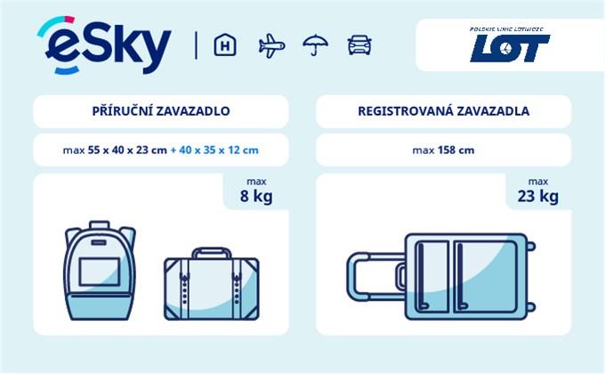 Zavazadla: omezení týkající se váhy a rozměrů - LOT