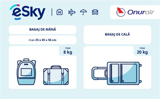 Dimensiunea și greutatea bagajelor  - Onur Air