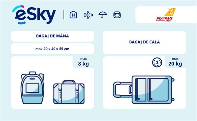 Dimensiunea și greutatea bagajelor  - Pegasus