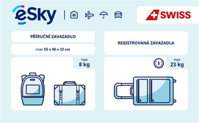 Zavazadla: omezení týkající se váhy a rozměrů - Swiss International Air Lines