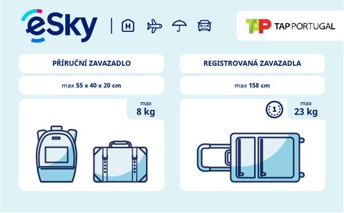 Zavazadla: omezení týkající se váhy a rozměrů - TAP Portugal