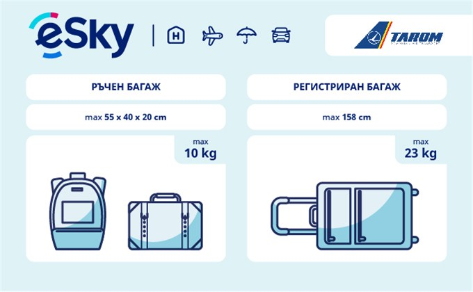 Тегло и размери на багажа - Tarom