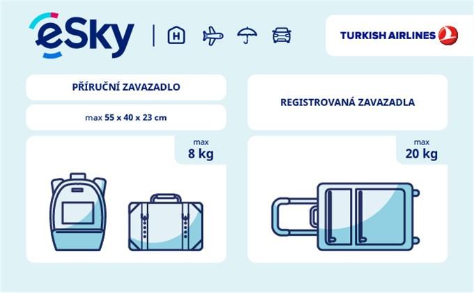 Zavazadla: omezení týkající se váhy a rozměrů - Turkish Airlines