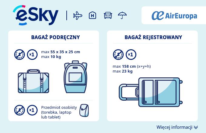 Bagaż: Wymiary i waga - Air Europa