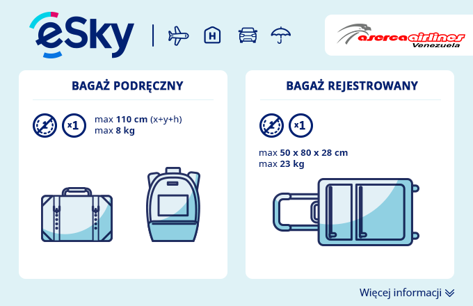 Bagaż: Wymiary i waga - Aserca Airlines