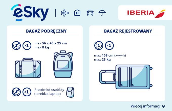 Bagaż: Wymiary i waga - Iberia