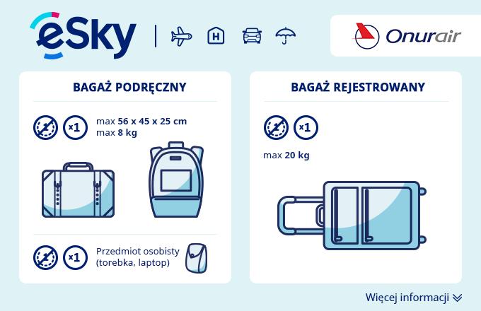 Bagaż: Wymiary i waga - Onur Air
