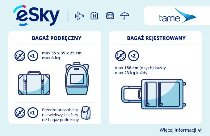 Bagaż: Wymiary i waga - TAME
