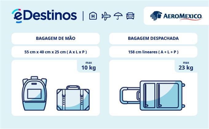 Bagagem: dimensões e peso - Aeroméxico