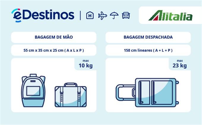 Bagagem: dimensões e peso - Alitalia Airlines