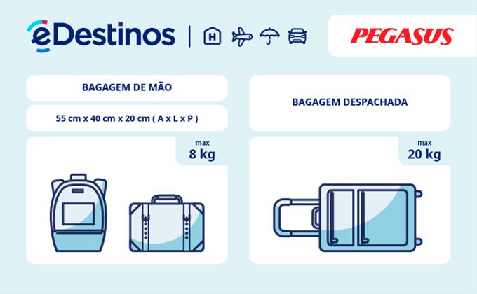 Bagagem: dimensões e peso - Pegasus Airlines