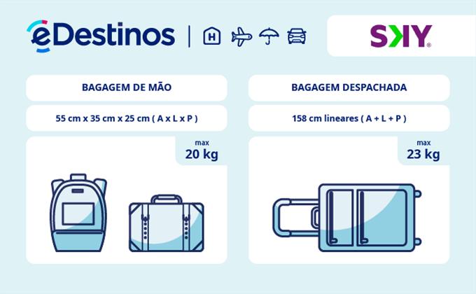Bagagem: dimensões e peso - Sky Airline