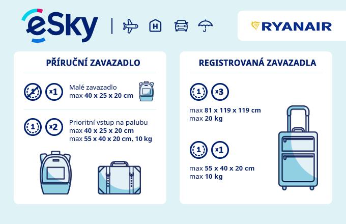 Zavazadla: omezení týkající se váhy a rozměrů - Ryanair